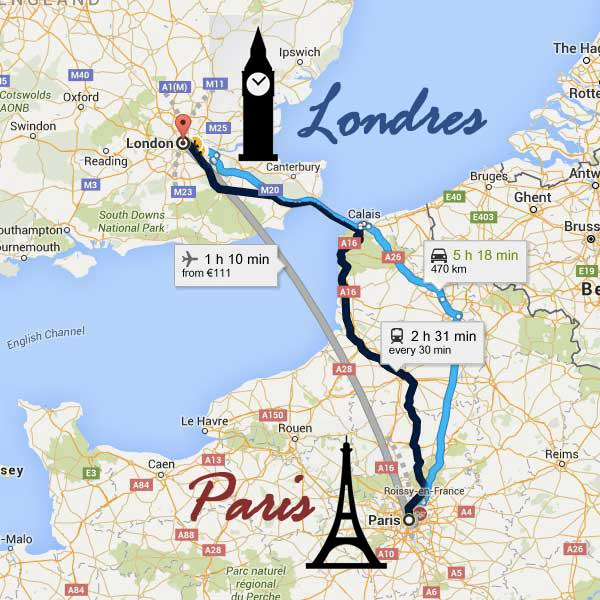 Como ir de Paris para Londres ou de Londres para Paris