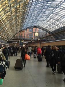Chegada em Londres, na Estação St. Pancreas