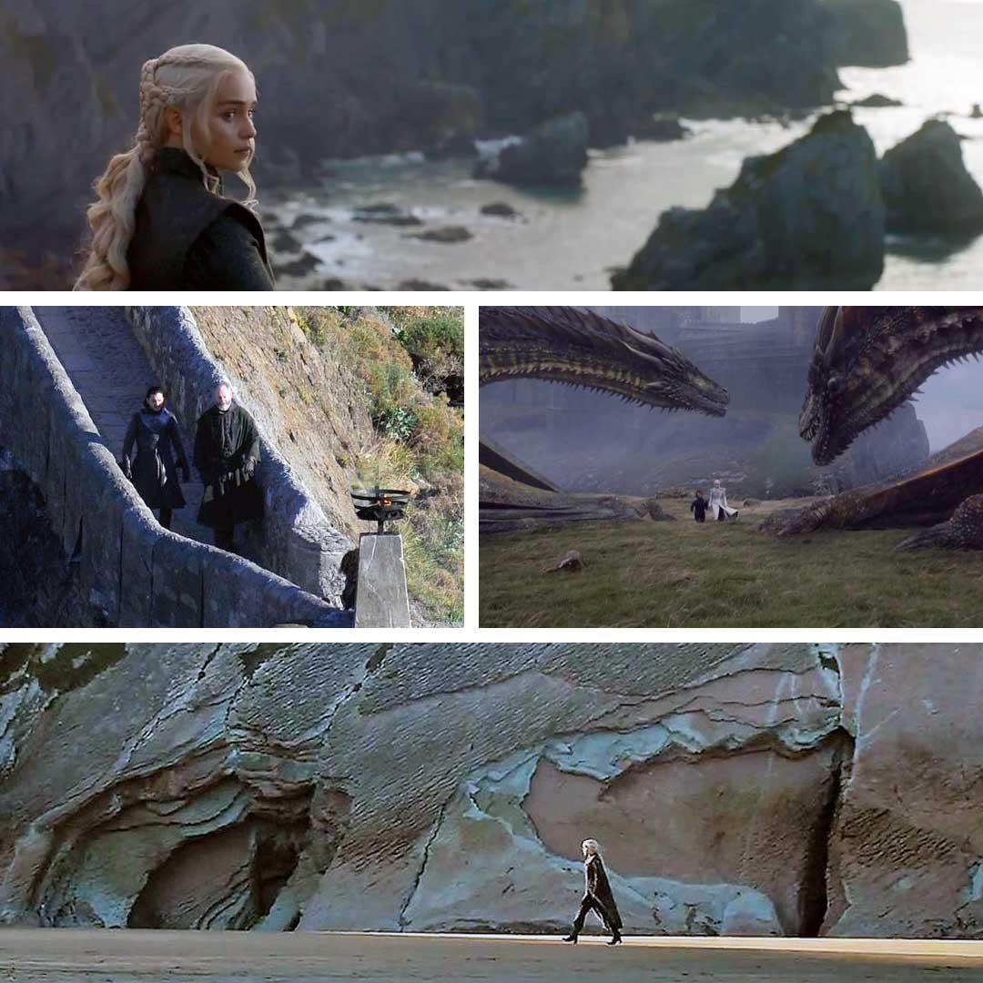 Dá para visitar as formações rochosas e essas escadarias existem de verdade. Mas não deve ter dragonglass em nenhuma caverna.