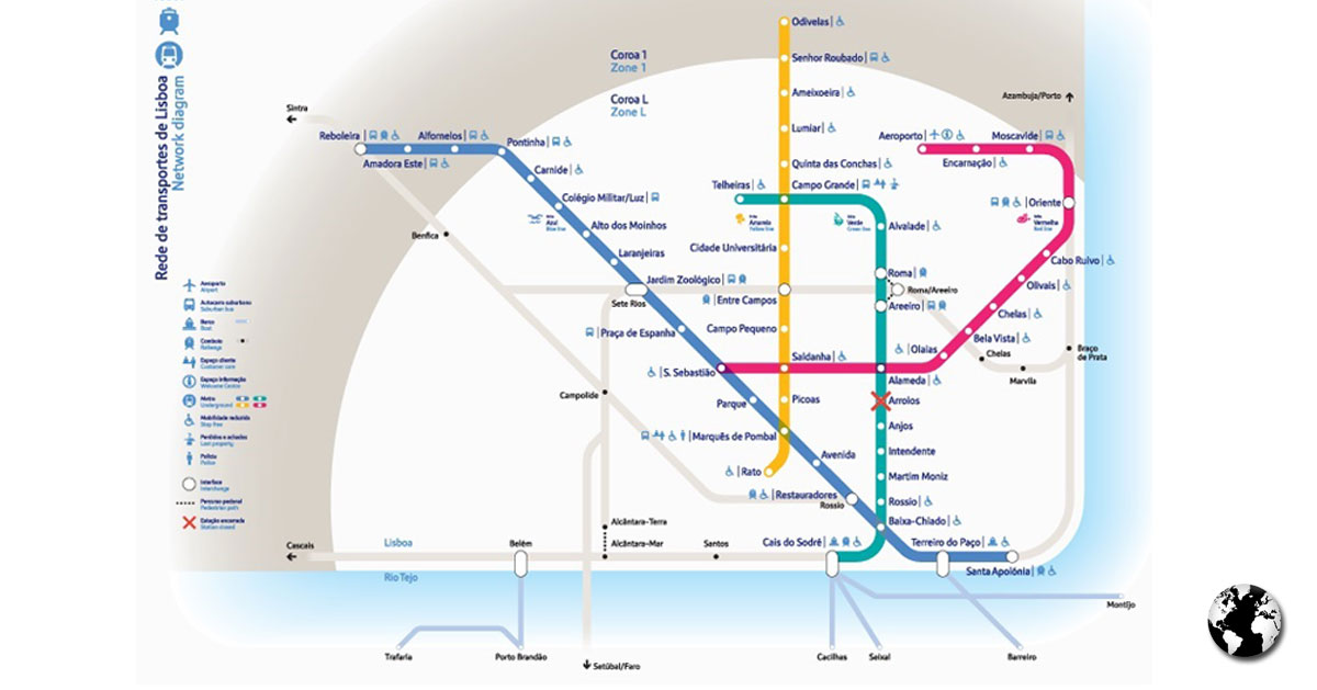 Diagrama da Rede de Transportes de Lisboa.