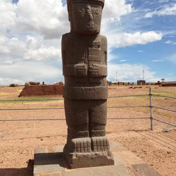 Tiwanacu: uma das estátuas encontradas no templo principal